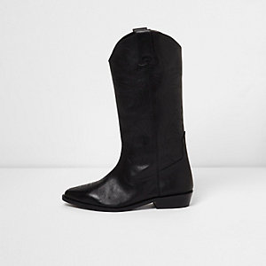 Black leather knee high western boots