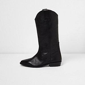 Bottes hautes noires en cuir style western