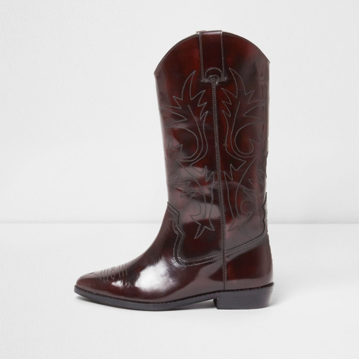 Dark red patent knee high western boots