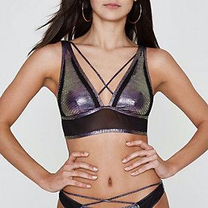 Haut de bikini triangle sirène violet à lanières