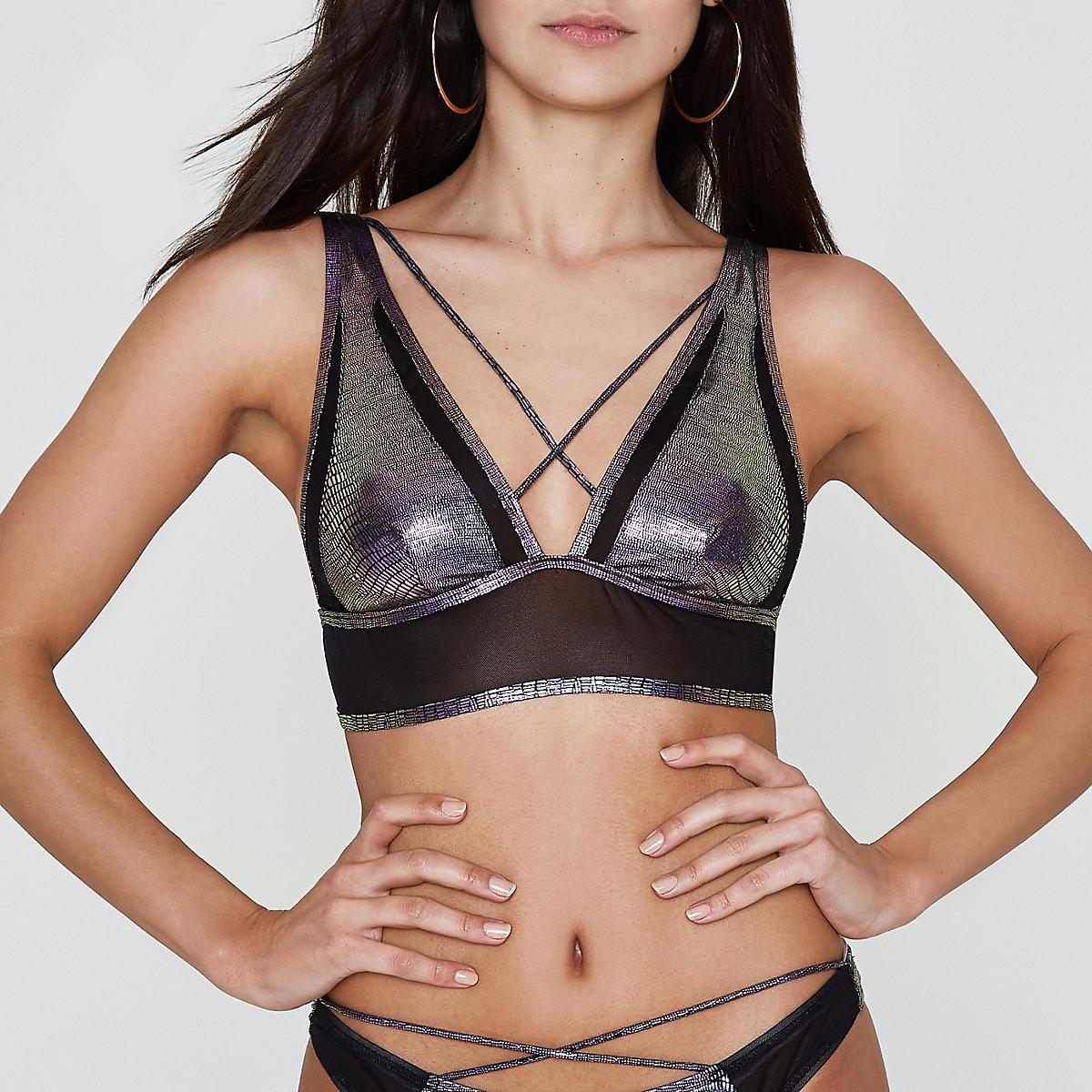 Purple mermaid strappy triangle bikini top