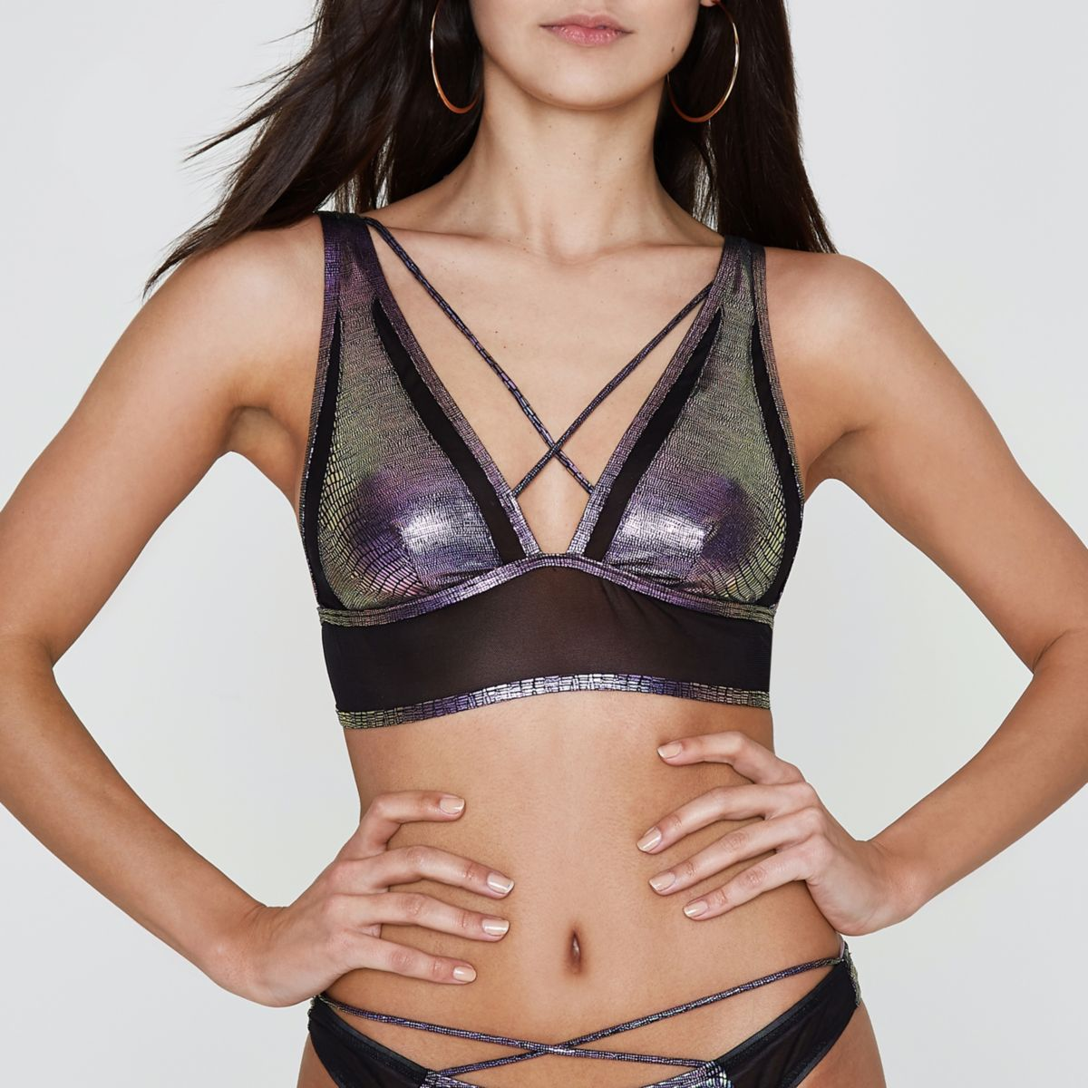 Purple mermaid strappy triangle bikini top