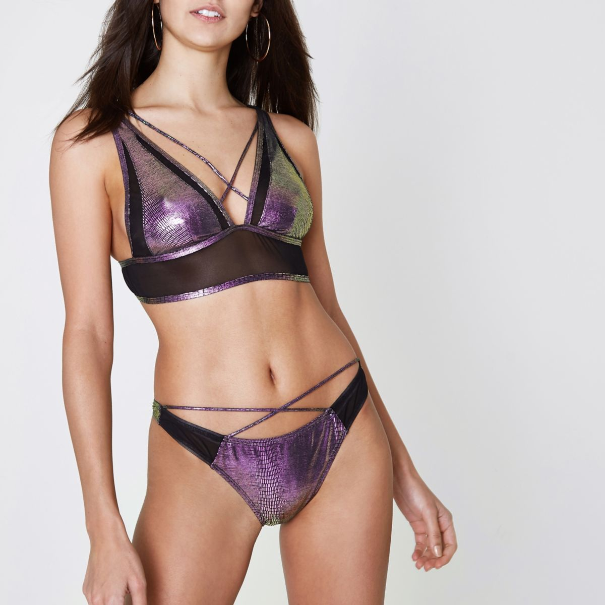 Purple mermaid foil strappy bikini bottoms