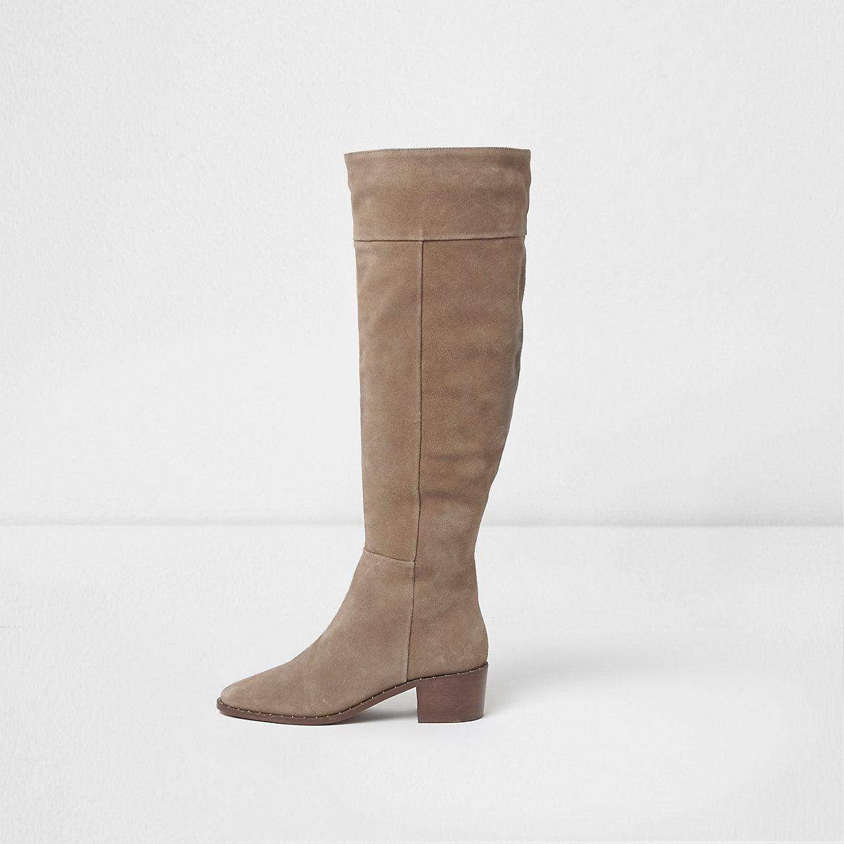 Beige suede studded knee high suede boots