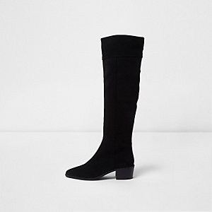Black suede slouch block heel knee high boots
