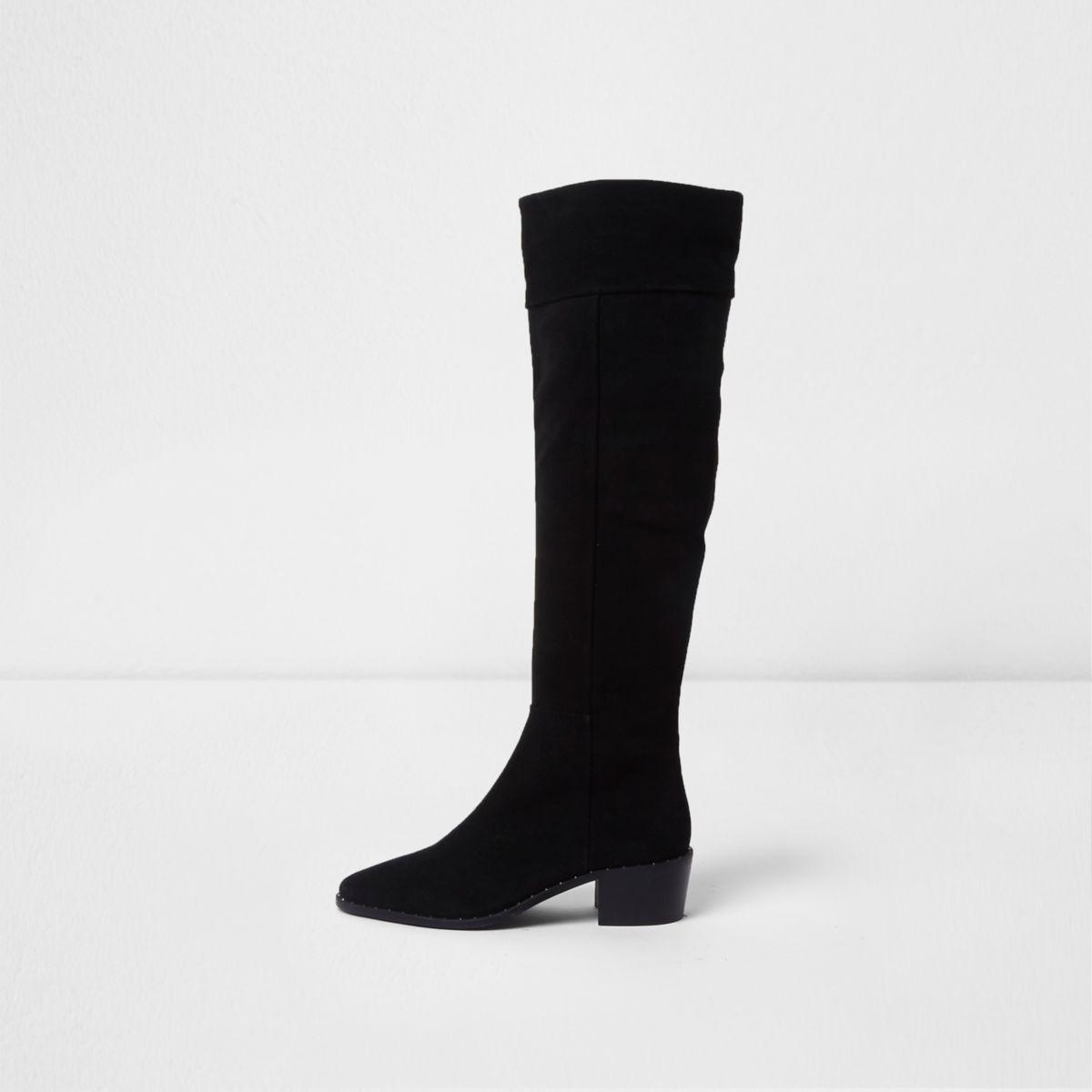 Black suede slouch block heel knee high boots