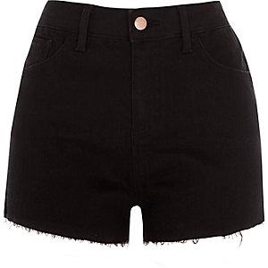 Black frayed Hollie hotpant denim shorts