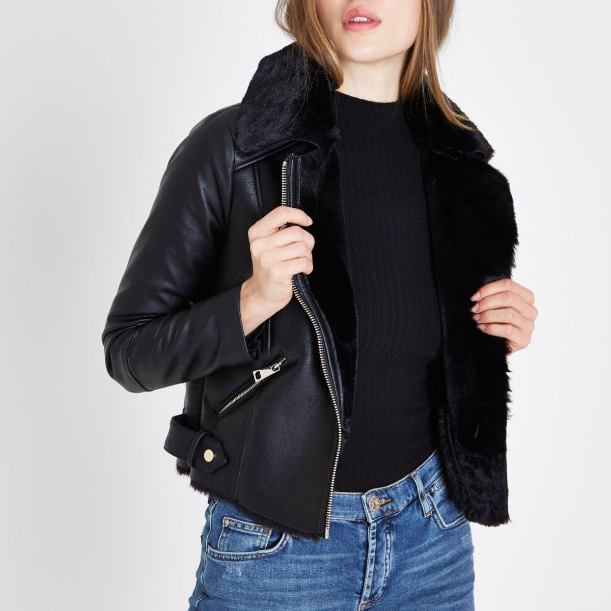 Black faux fur lined biker jacket