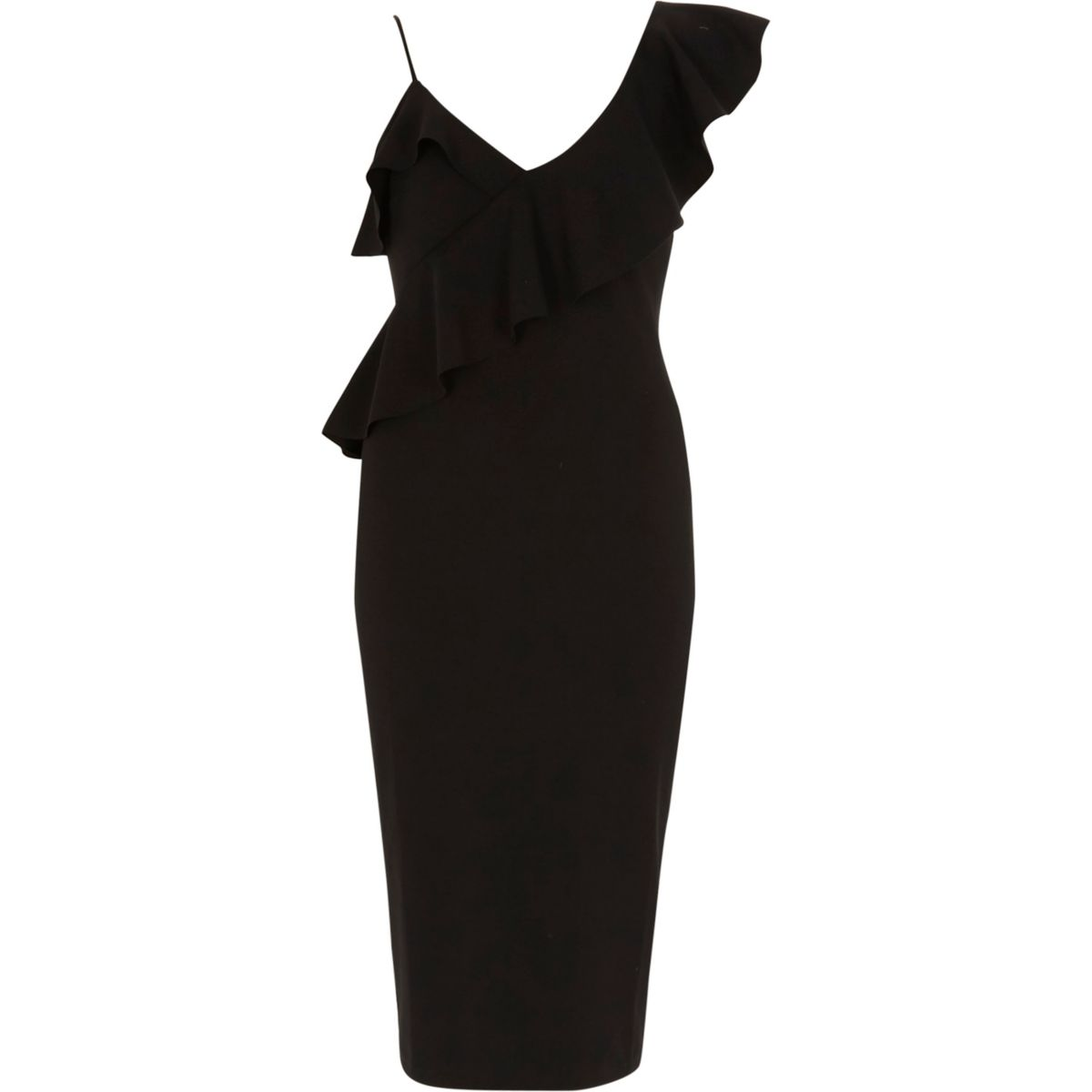 Black frill shoulder bodycon midi dress