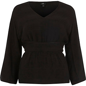 Black stripe ruched sleeve top