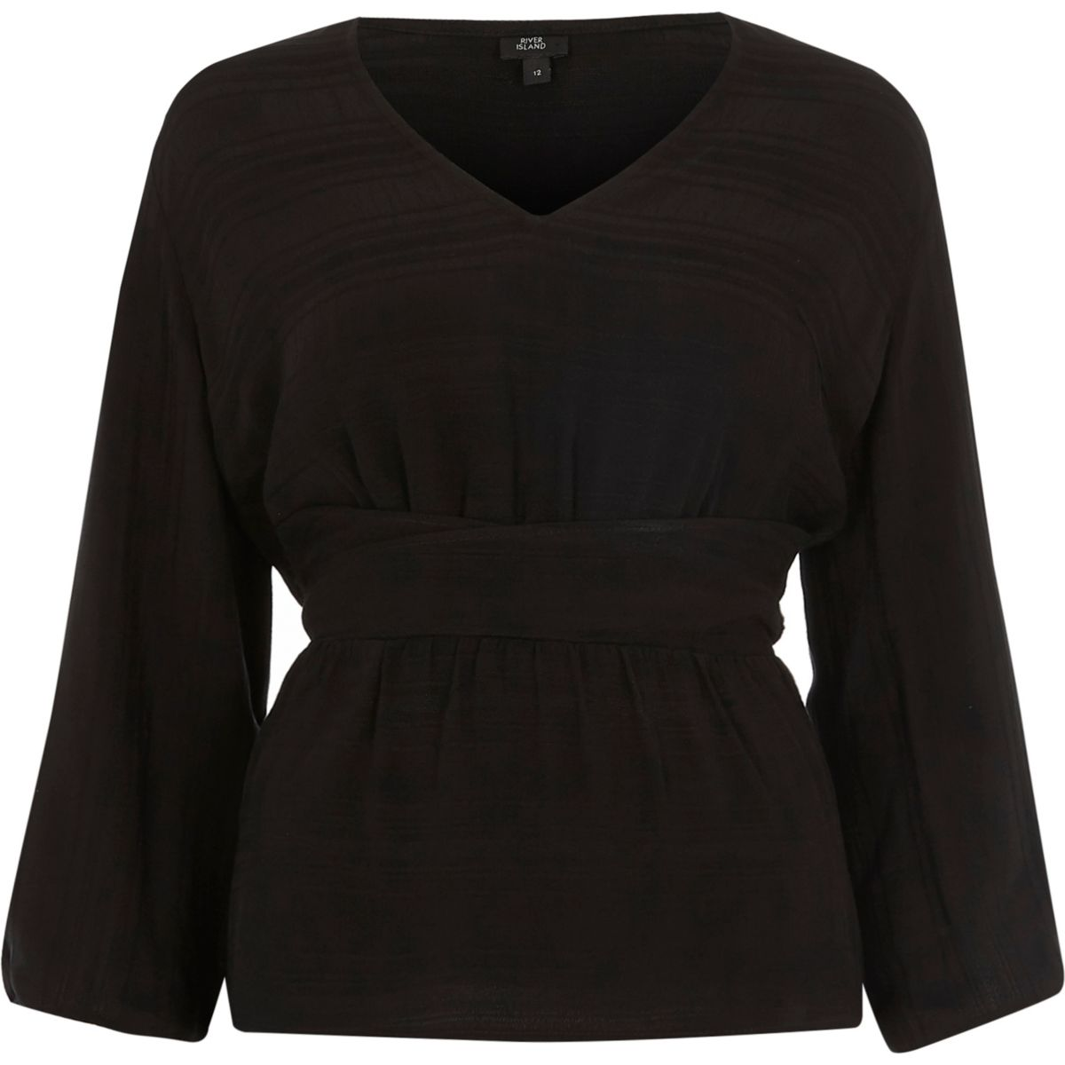 Black stripe ruched sleeve top