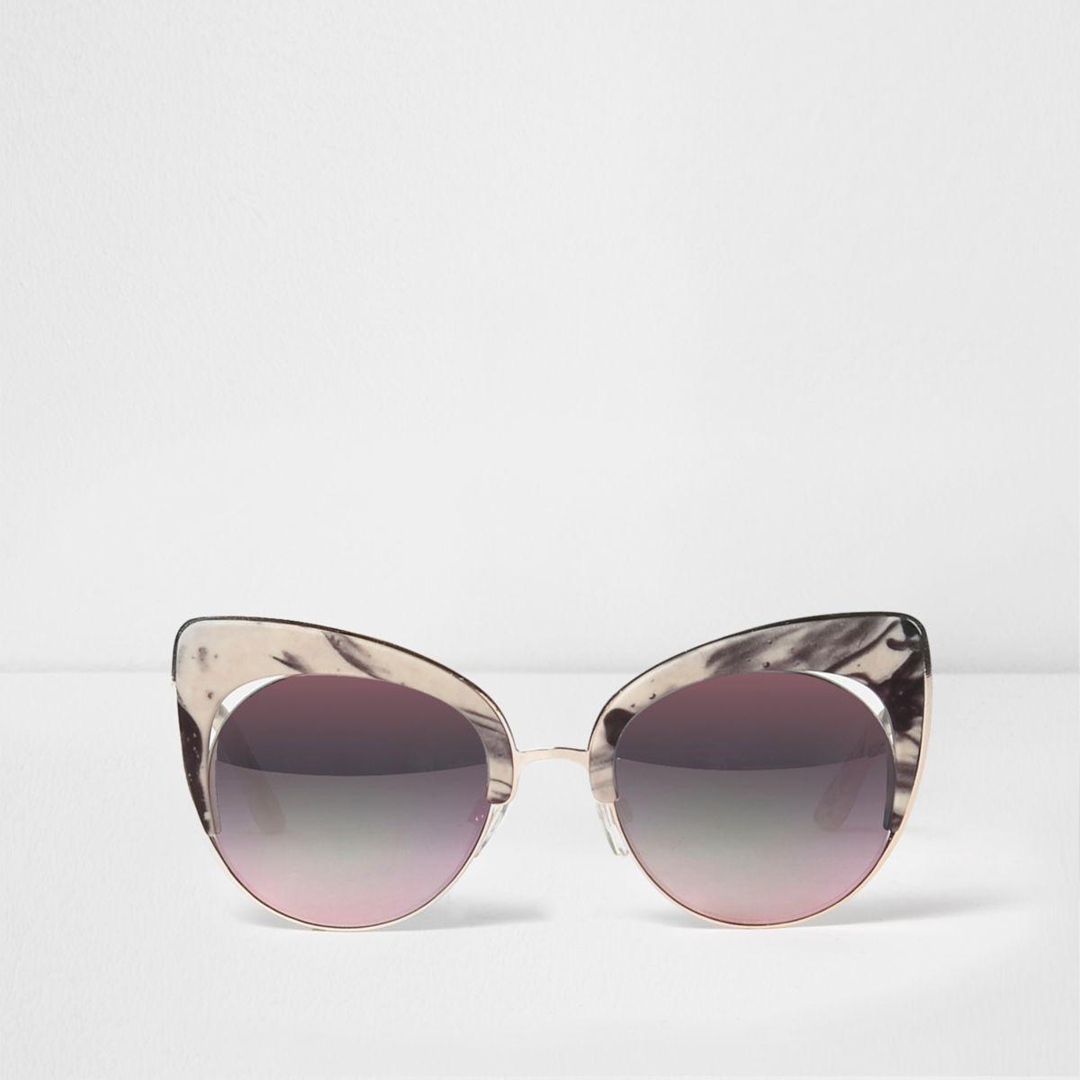 White marble print cat eye sunglasses