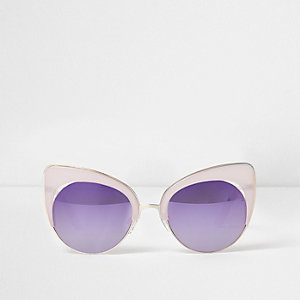 Lilac mirror lens cat eye sunglasses