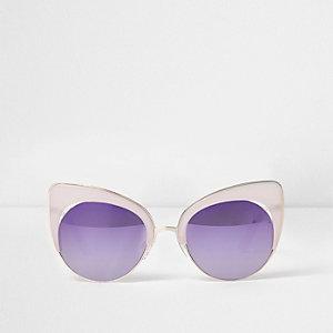 Cat-eye-zonnebril met lila spiegelglazen