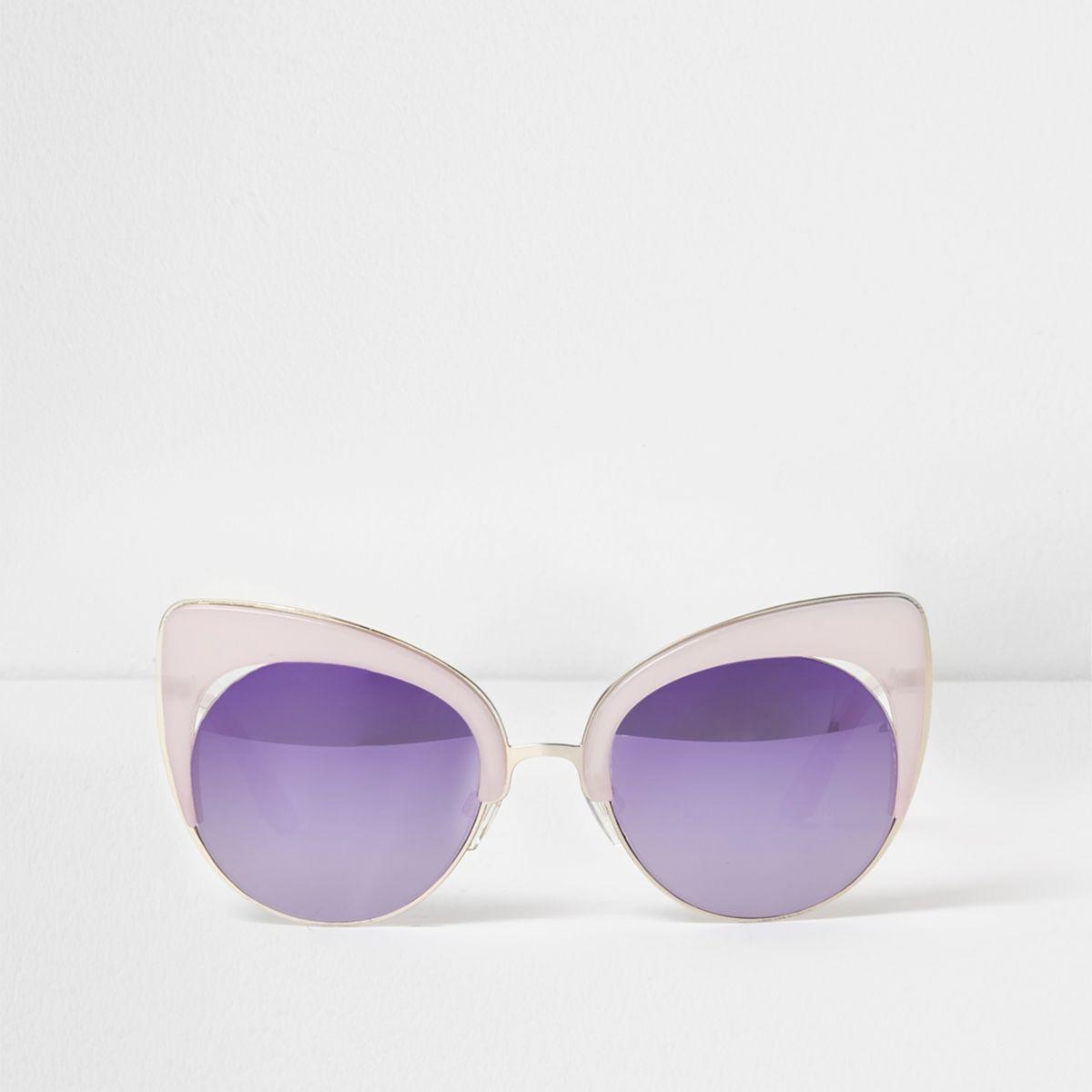 Lilac mirror lens cat eye sunglasses