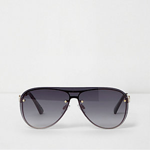 Gold tone visor smoke lens aviator sunglasses