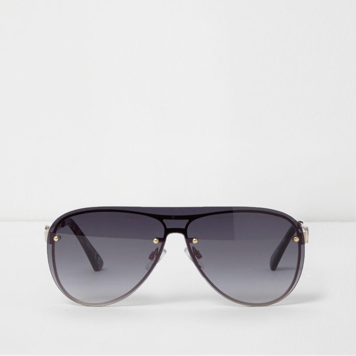 Gold tone visor smoke lens aviator sunglasses