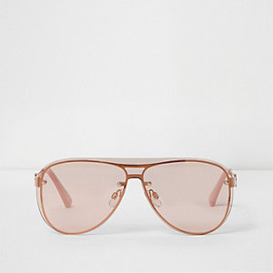 Rose gold tone visor aviator sunglasses