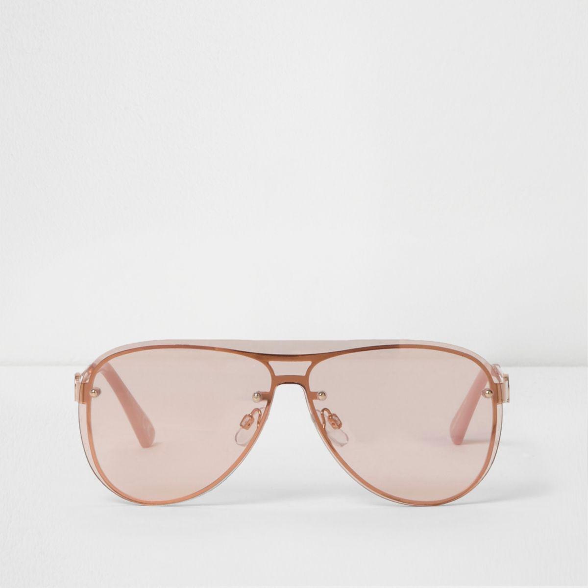 Rose gold tone visor aviator sunglasses
