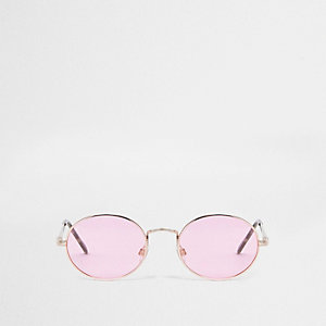 Rose gold tone oval pink lens sunglasses