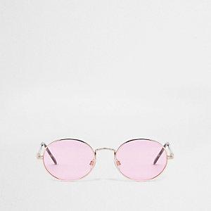 Ovale Sonnenbrille in Roségold