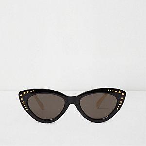 Schwarze Katzenaugen-Sonnenbrille mit Nieten