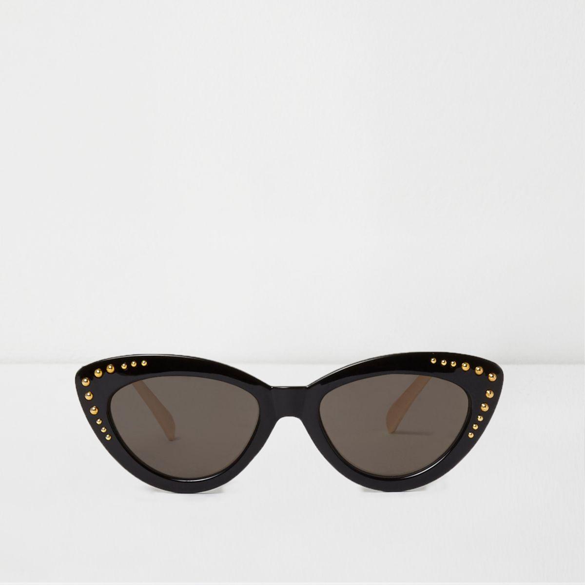 Black studded cat eye sunglasses