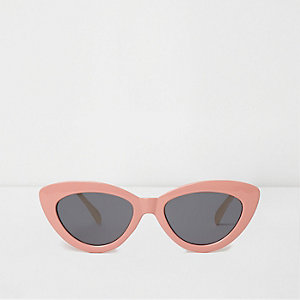 Pink cat eye smoke tinted lens sunglasses