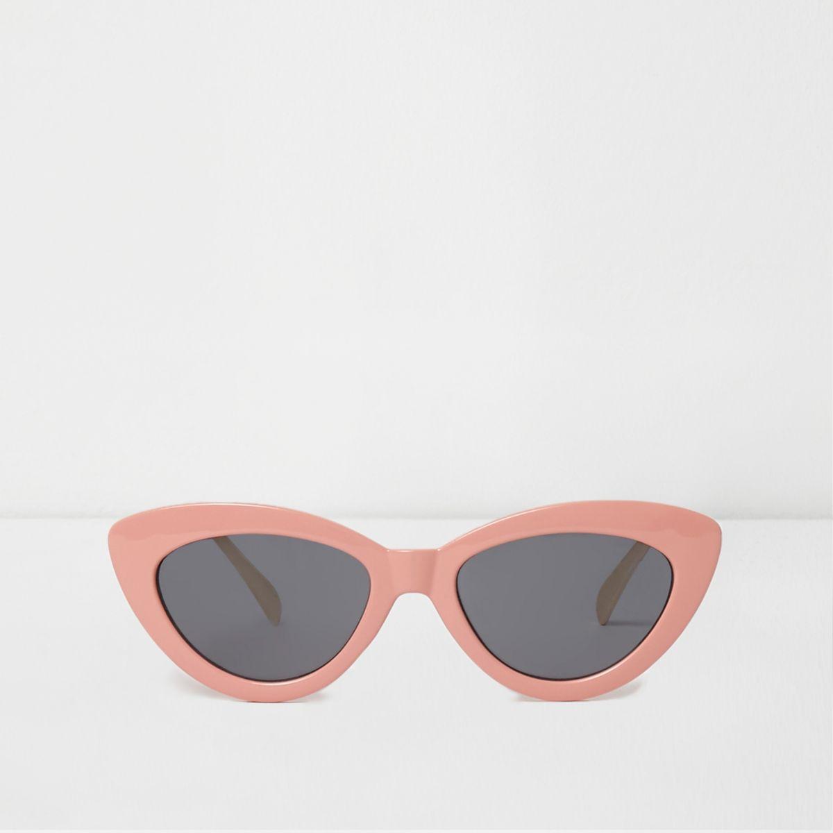 Pink cat eye smoke tinted lens sunglasses