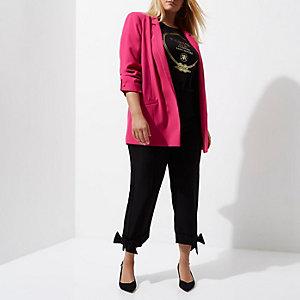 Plus bright pink bar cuff longline blazer