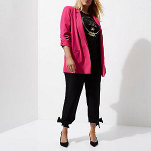 Plus bright pink bar cuff longline blazer