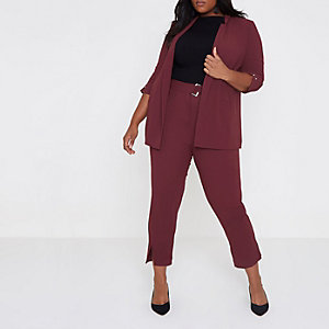 Plus dark red bar cuff longline blazer