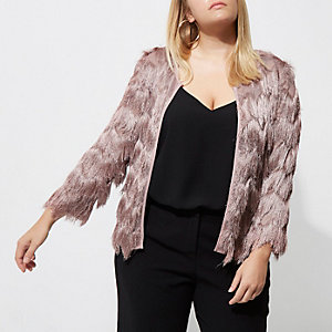 Plus pink three quarter sleeve fringe jacket