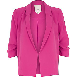 Petite pink popper side ruched sleeve blazer