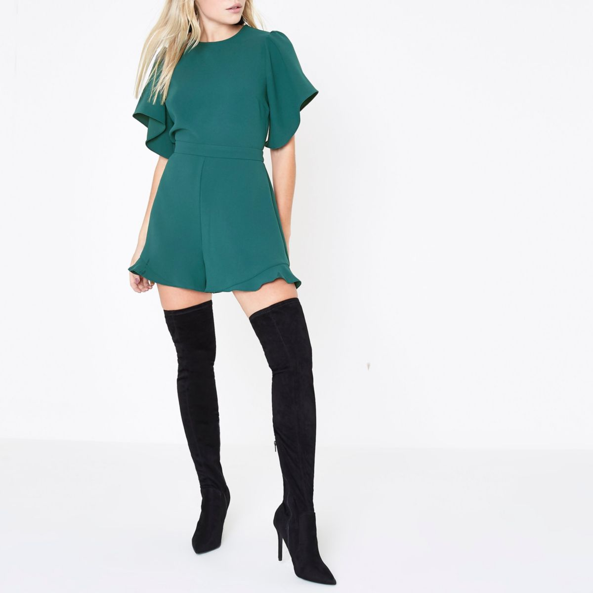 Petite green waisted wide sleeve playsuit
