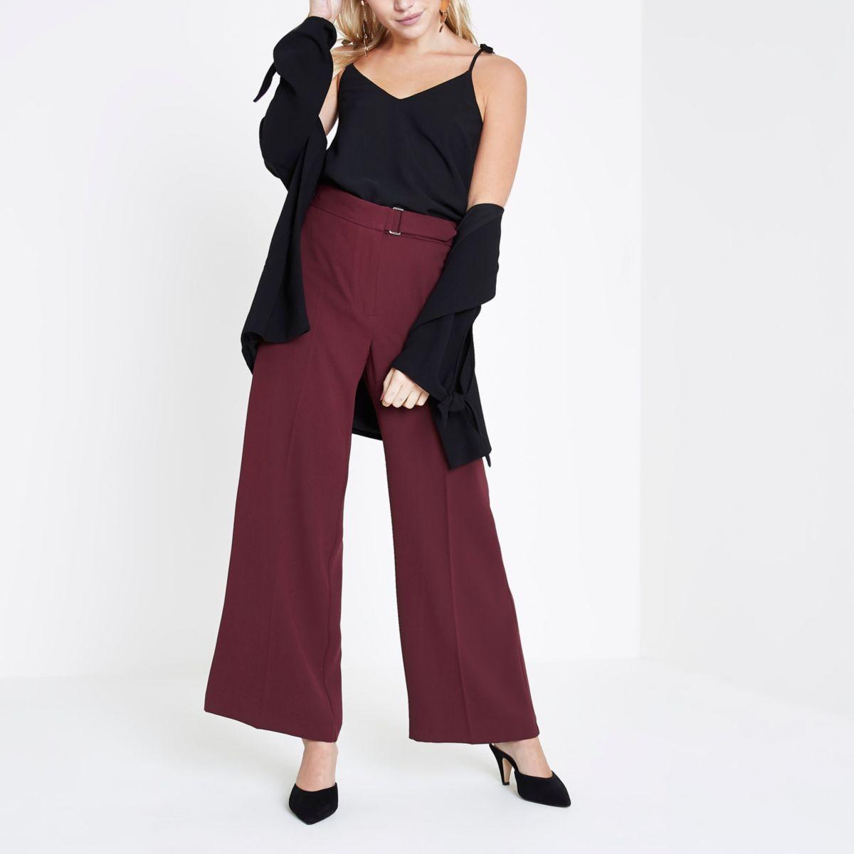 Petite burgundy wide leg trousers