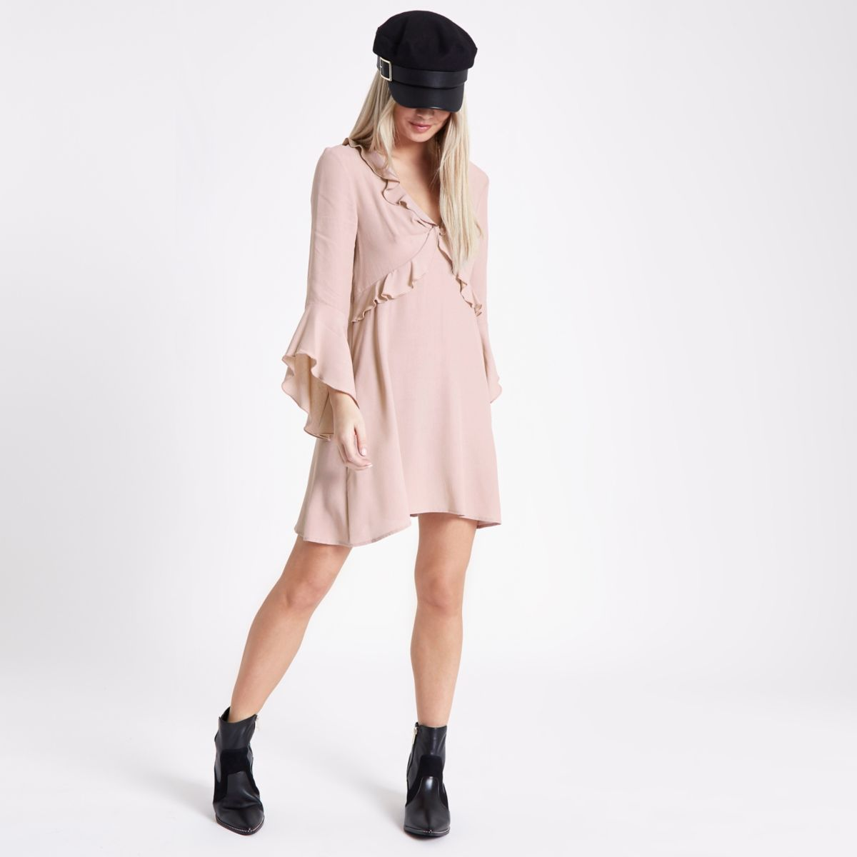 Petite pink frill tea dress