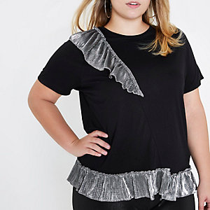 RI Plus - Zwart metallic T-shirt met ruches