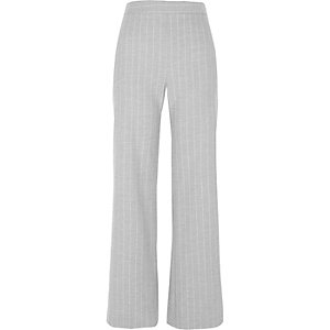 Grey stripe wide leg pants
