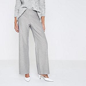 Grey stripe wide leg trousers