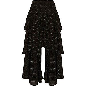 Black polka dot rara layer culottes