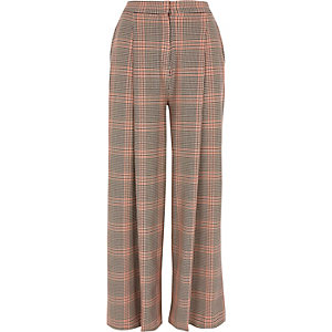 Orange check wide leg pants