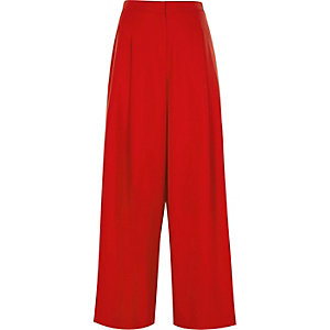 Red wide leg high waisted trousers