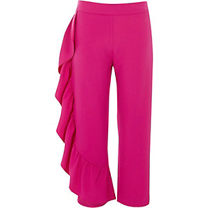 Roze cropped broek met ruches aan de zijkant en rechte pijpen