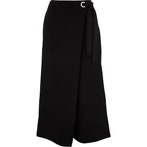 Black wrap front culottes