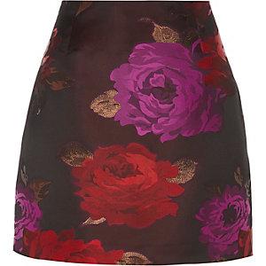 Mini-jupe en jacquard à fleurs rouge