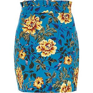 Mini-jupe imprimé fleuri bleue à taille plissée