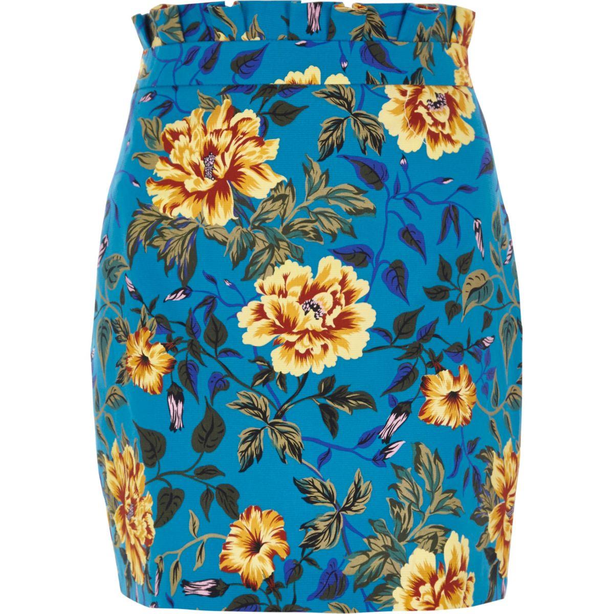 Blue floral print paperbag mini skirt