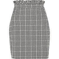 White gingham paperbag waist mini skirt