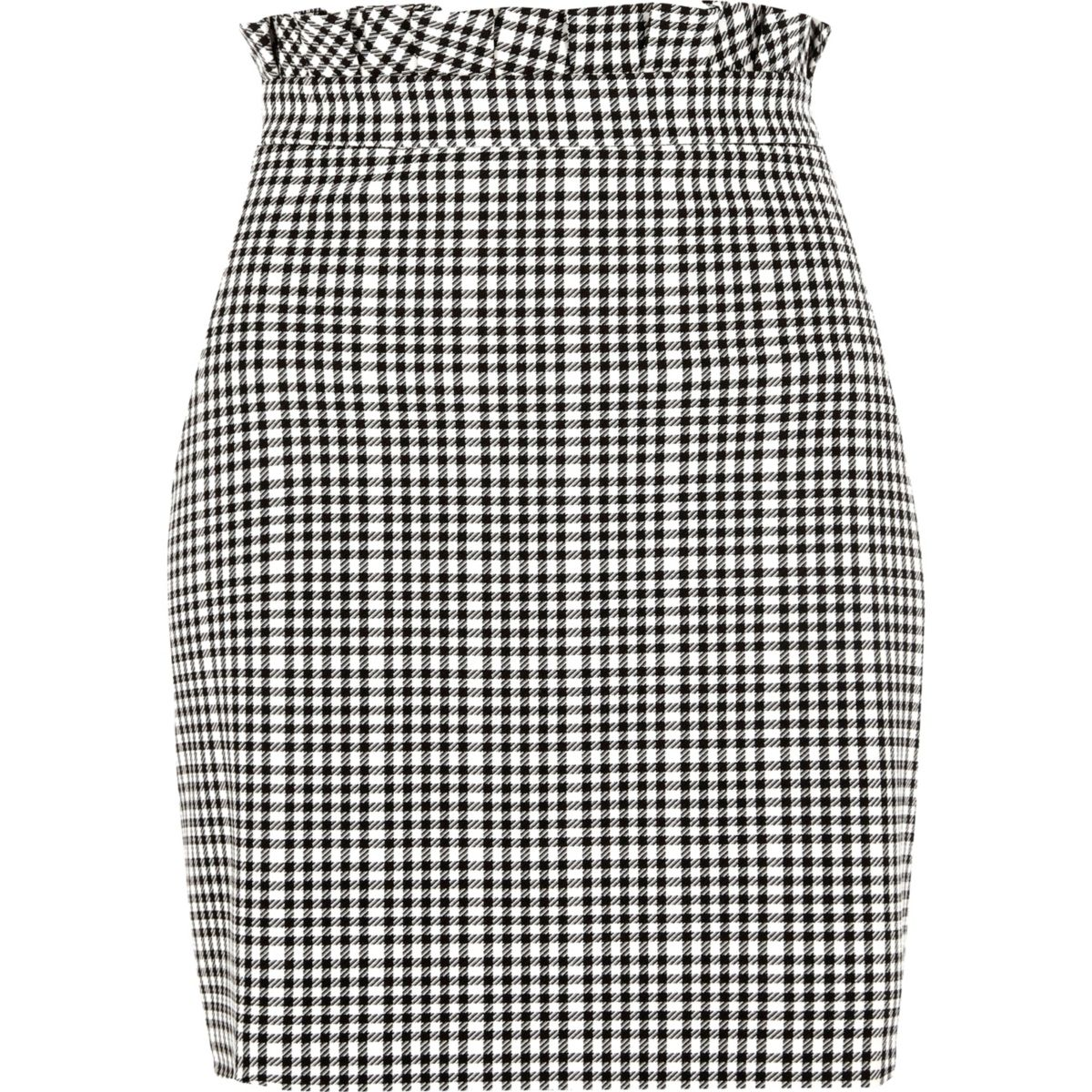 White gingham paperbag waist mini skirt